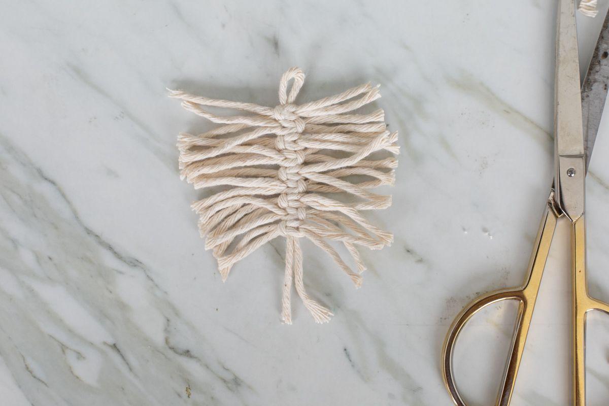 Trimmed macrame cords for earrings