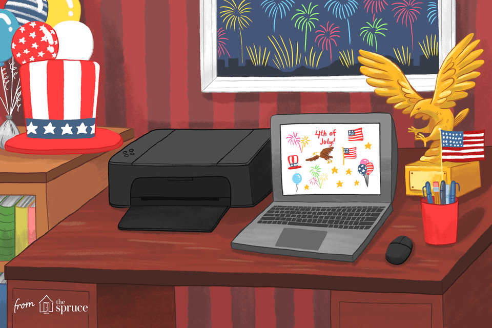 Fourth of july themed clipart on computer screen