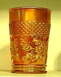 Dugan Carnival Glass Lattice and Daisy Marigold Tumbler
