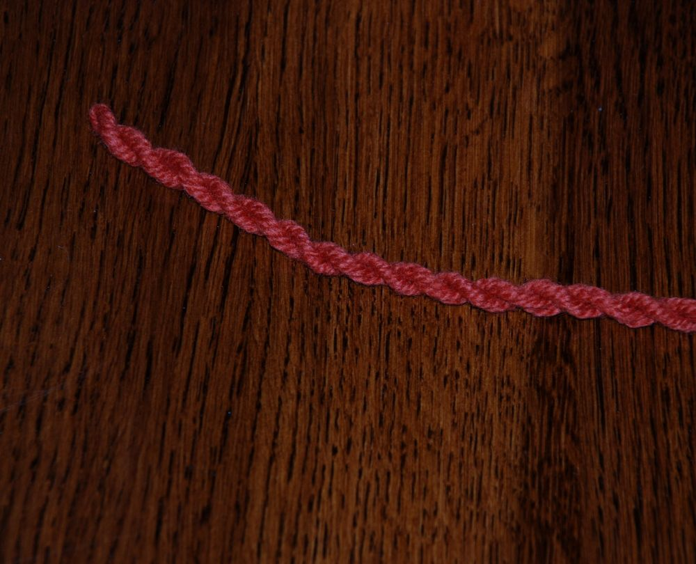 The cord after the second twist has been added