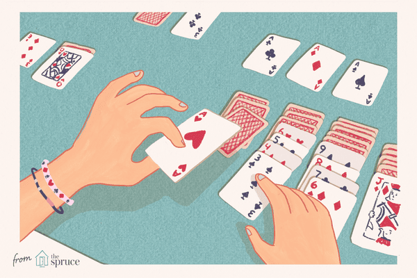 Illustration of person playing klondike solitaire
