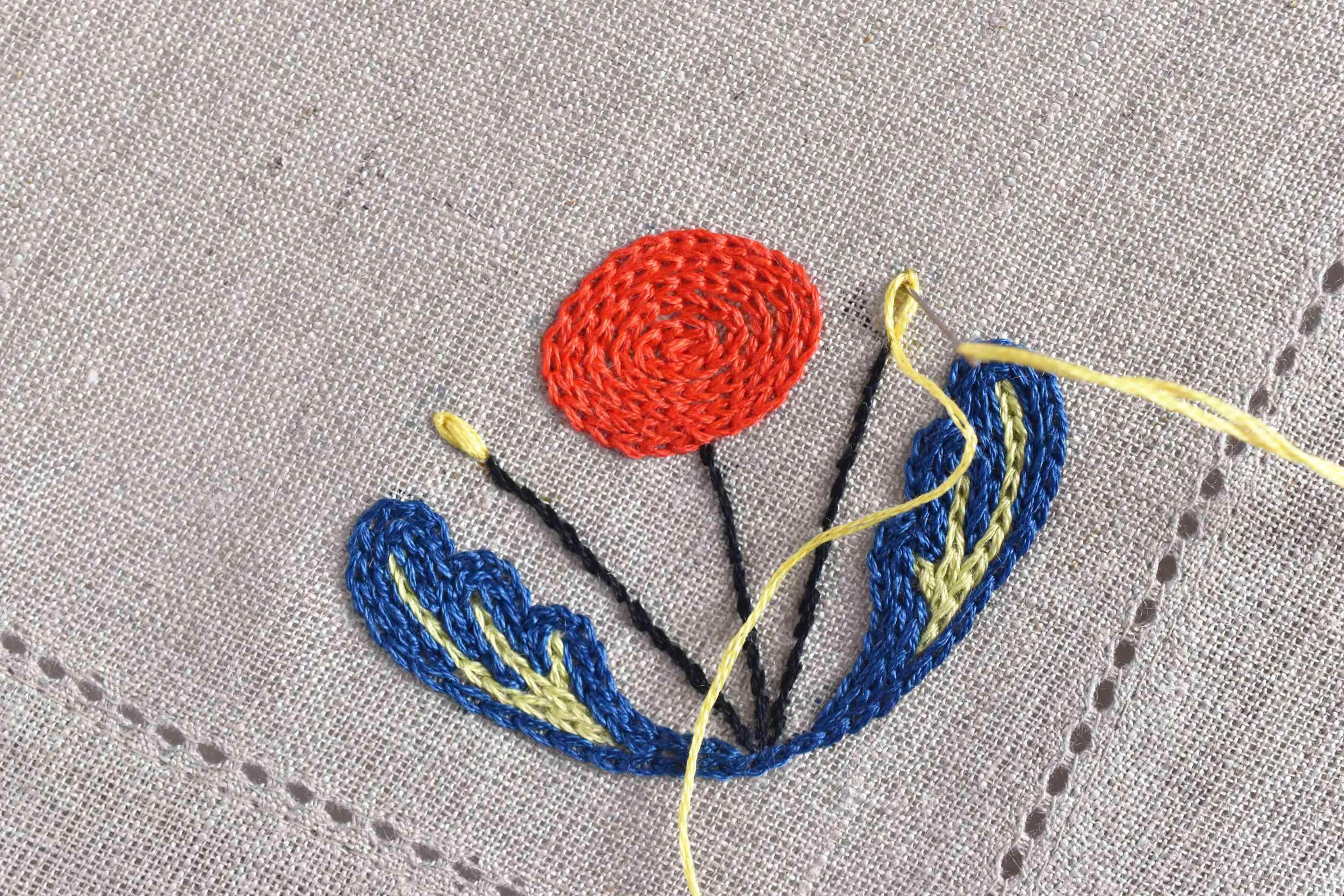 Embroidering a Scandinavian flower