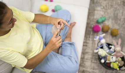 women knitting amigurumi