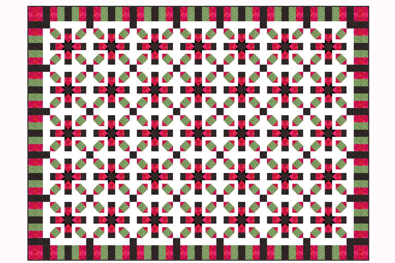 Star Crossing Quilt with Piano Key Borders