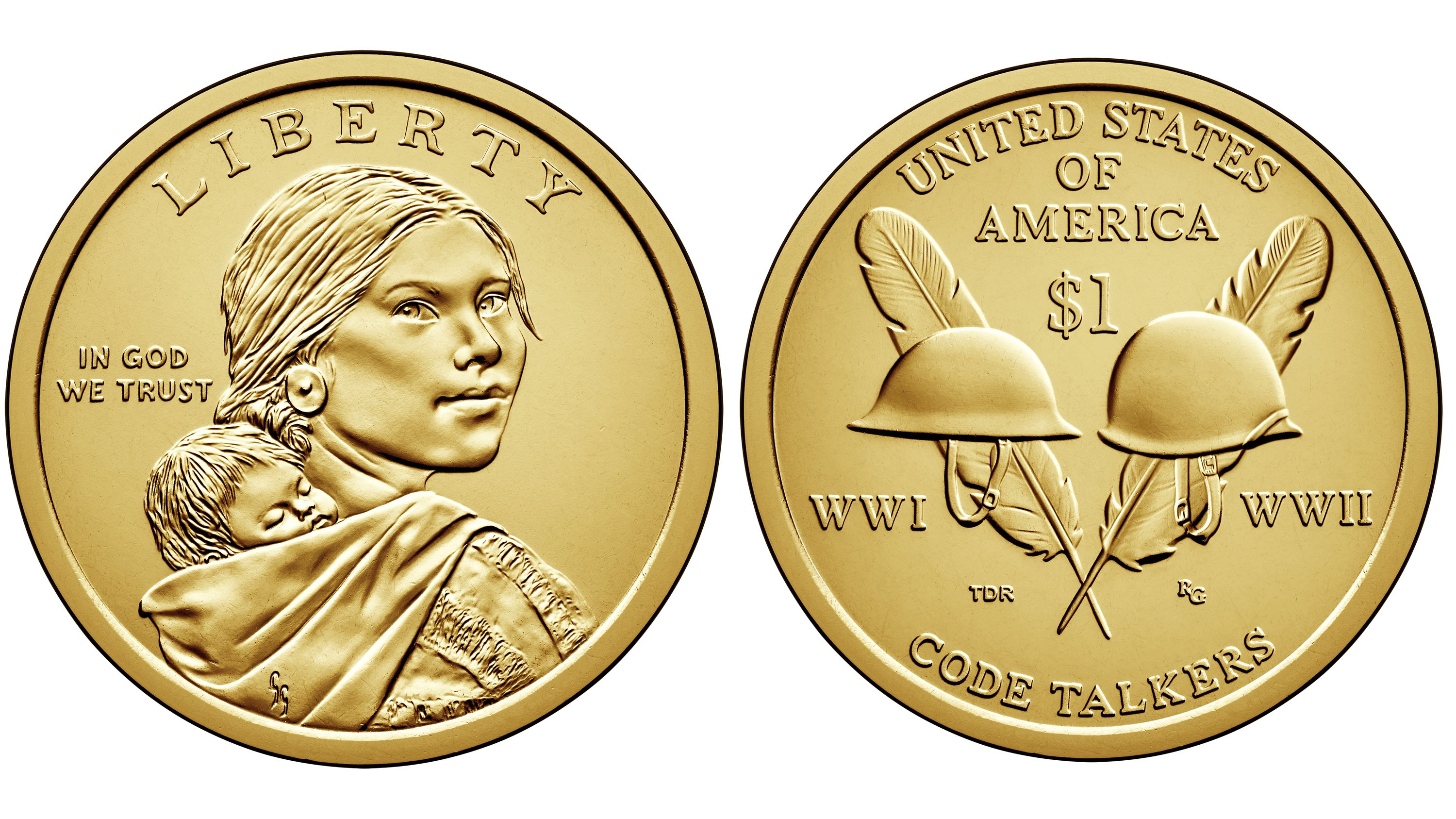 2005 P/&D Native American Indian One Dollar Sacagawea Coins Golden US Mint Coin