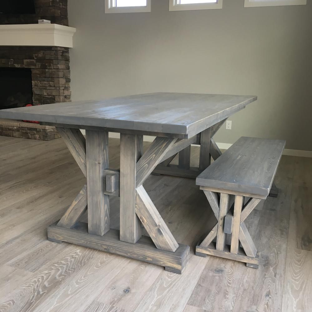 A Farmhouse Table And Bench In Dining Room