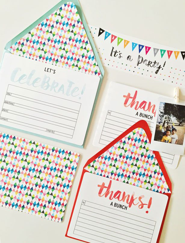 A birthday invitation template with a thank you card