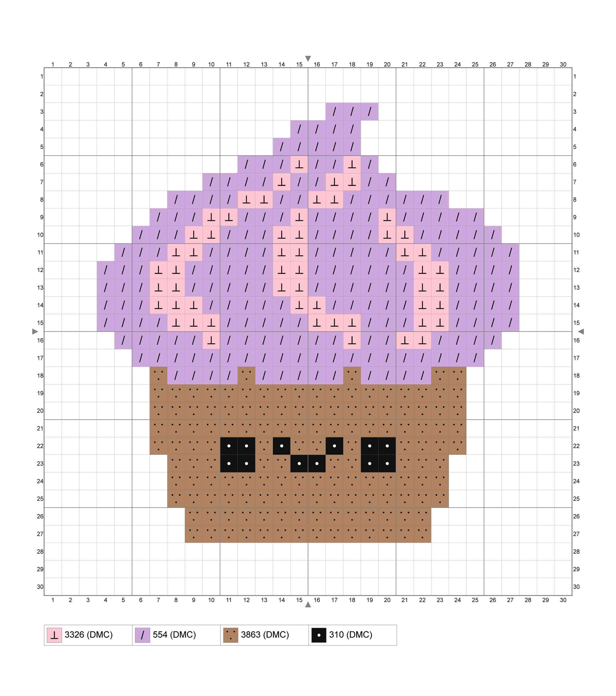 Easy Chocolate Cupcake Cross Stitch Chart