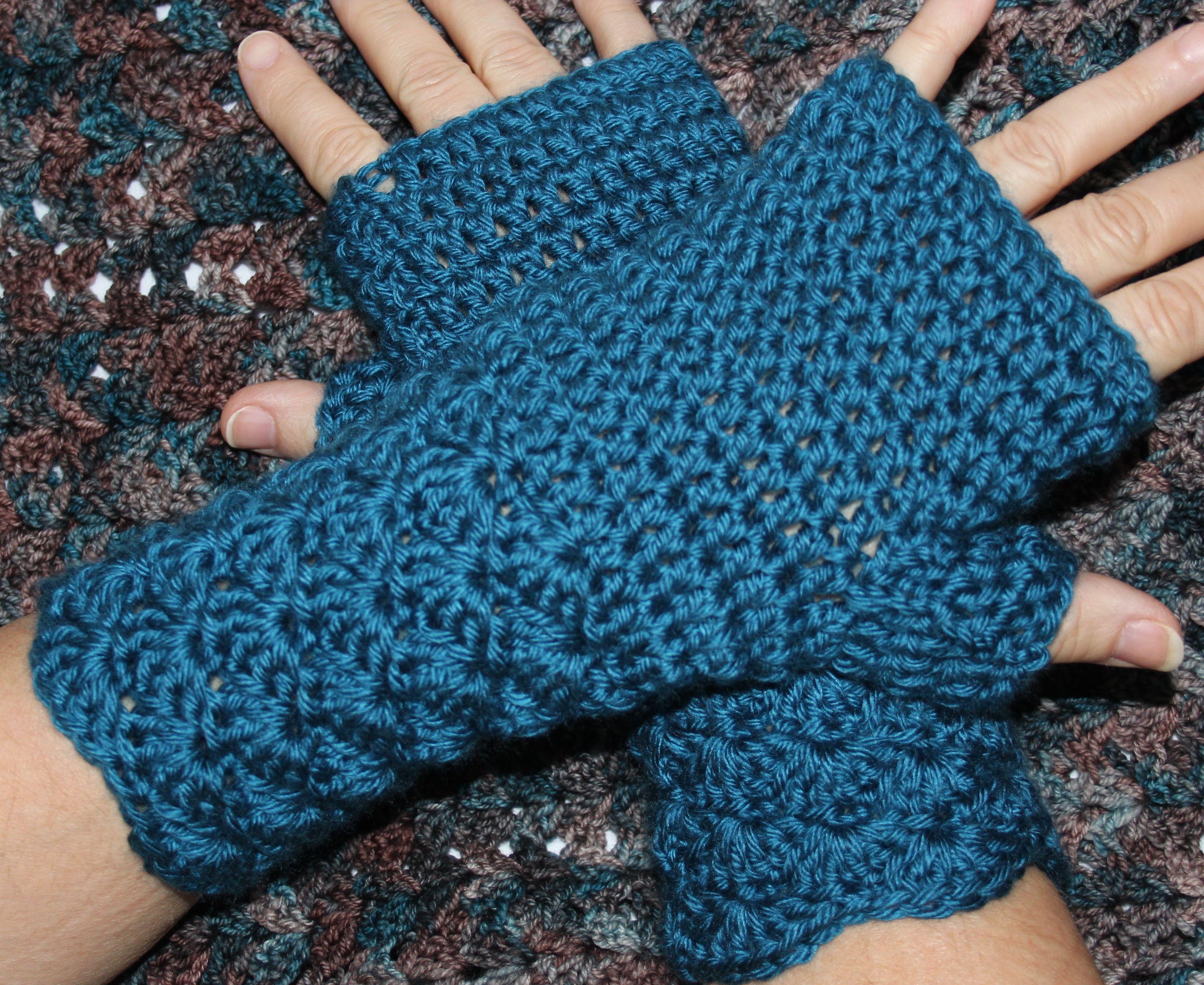 Teal Blue Crochet Fingerless Glove Mittens