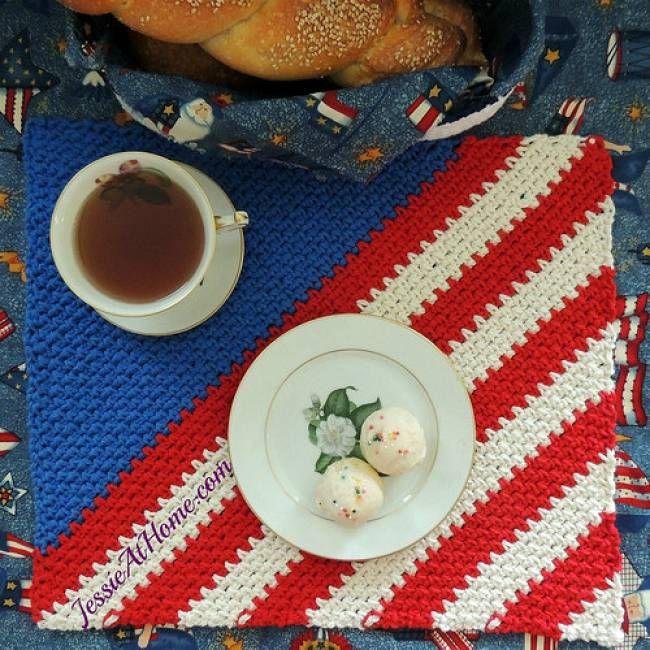 Crochet Patriotic Placemat Free Pattern