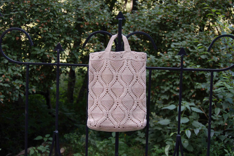 Crochet Pineapple Stitch Tote Bag