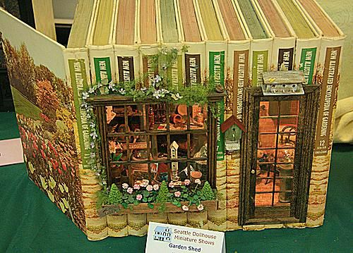 Kristine Hill's Garden Shed is built in 1:12 scale and housed in several volumes of garden books.