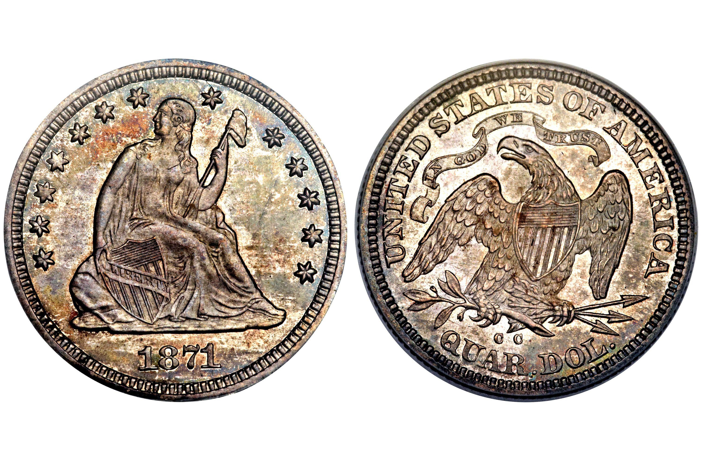 1871-CC Liberty Seated Quarter