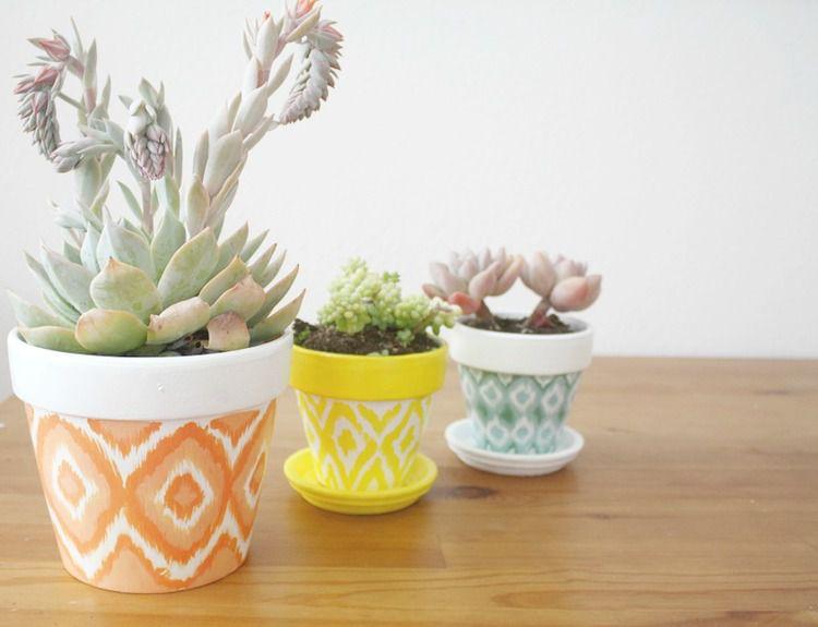 DIY Ikat Plant Pot