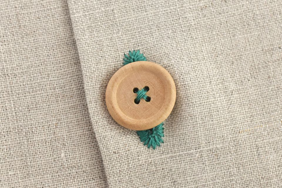 Wooden Button Through a Hand-Stitched Buttonhole