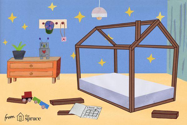 Illustration of bunk bed being built