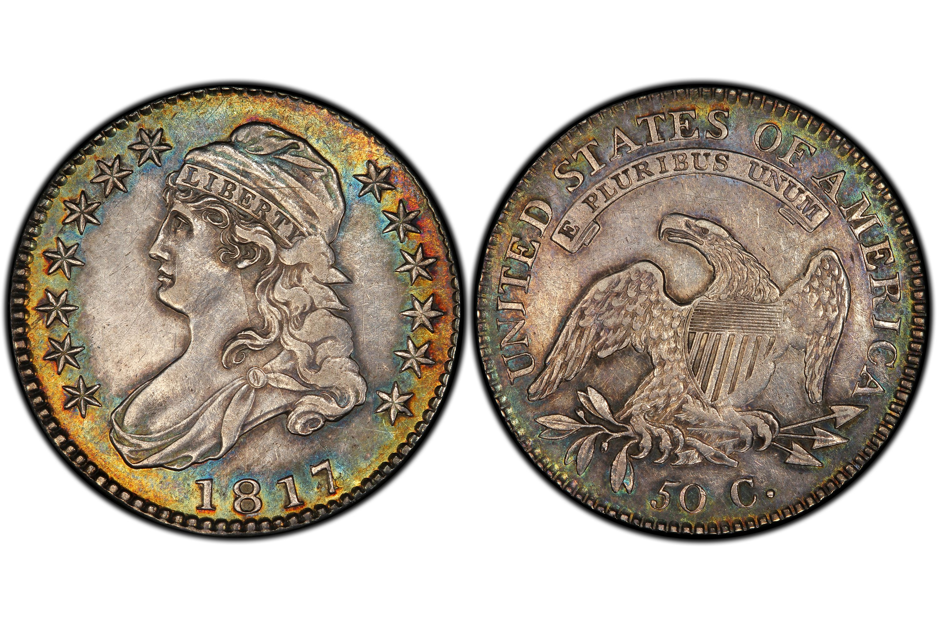 1817/4 Capped Bust Half Dollar Overdate variety graded AU-50 by PCGS