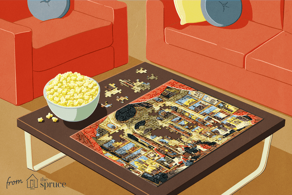 Illustration of a puzzle on a table