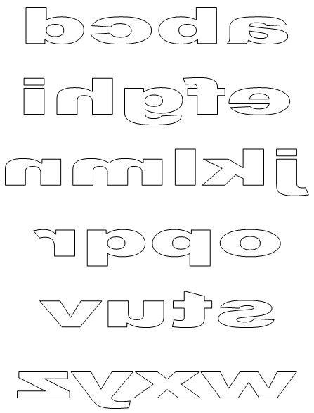 Lower-case block letters reversed