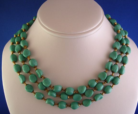 Circa: 1960s Haskell Turquoise Bead Necklace