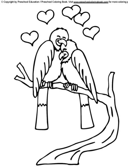 Preschool Coloring Books Free Valentines Day Pages Two Birds In Love