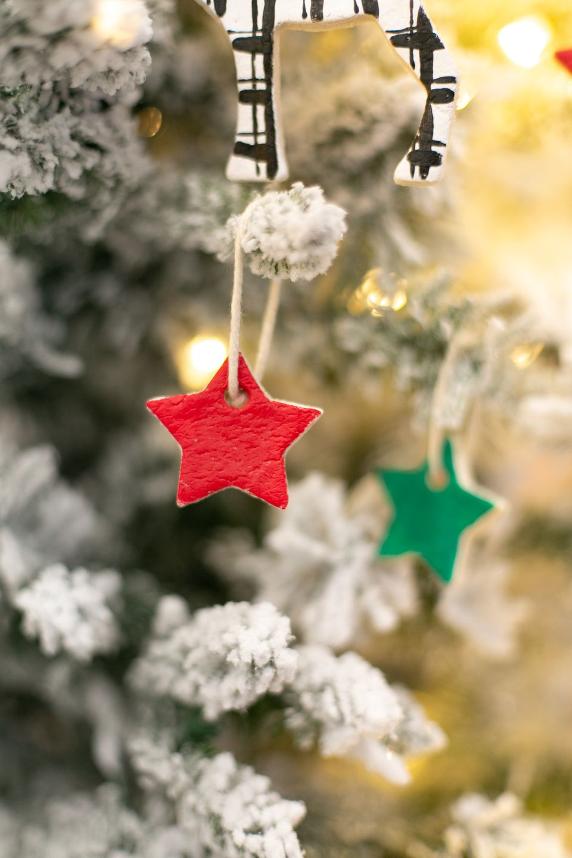DIY salt dough ornaments hanging on tree