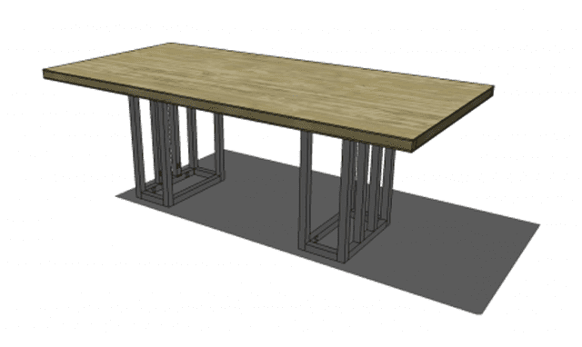 Illustration of a Wooden Dining Room Table