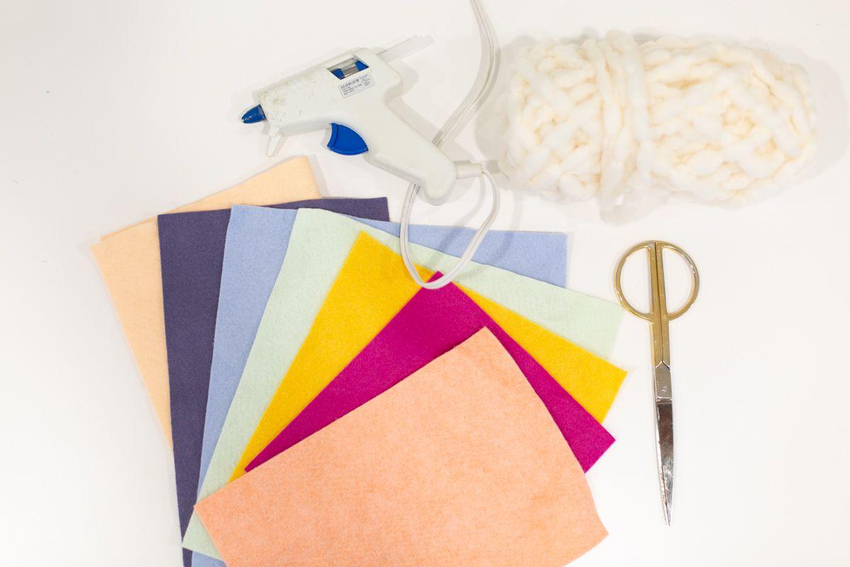 Materials for DIY felt spring garland