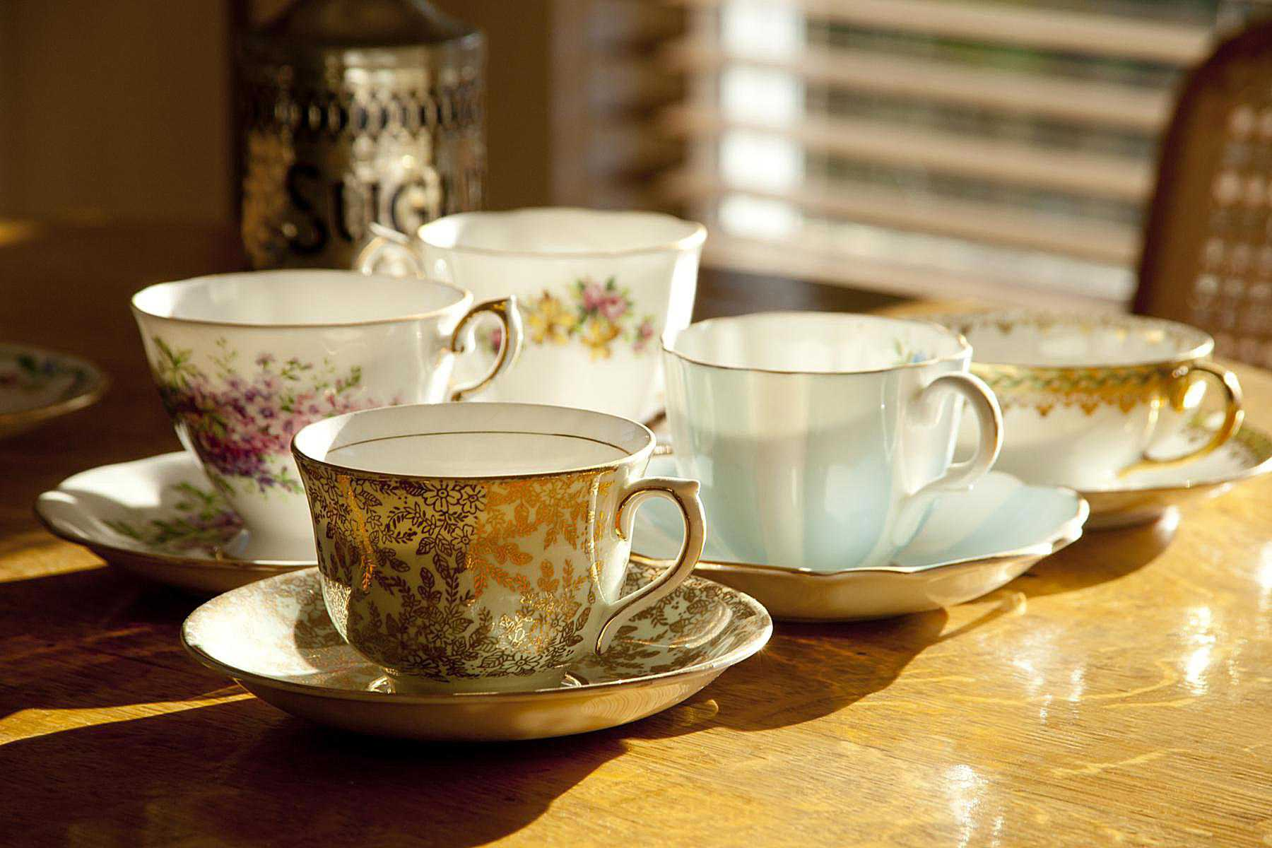 Antique tea cups and saucers collection