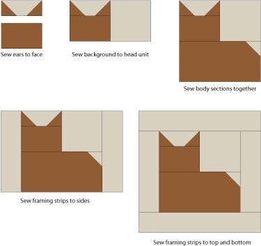 Patchwork Cat 12 Inch Quilt Block Pattern