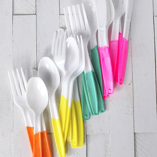 DIY Colorful Disposable Flatware