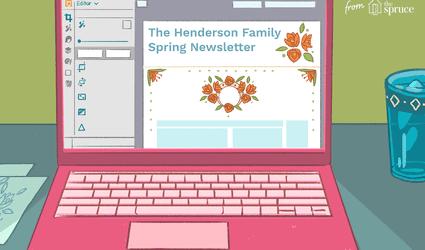 Flower clip art on computer screen illustration