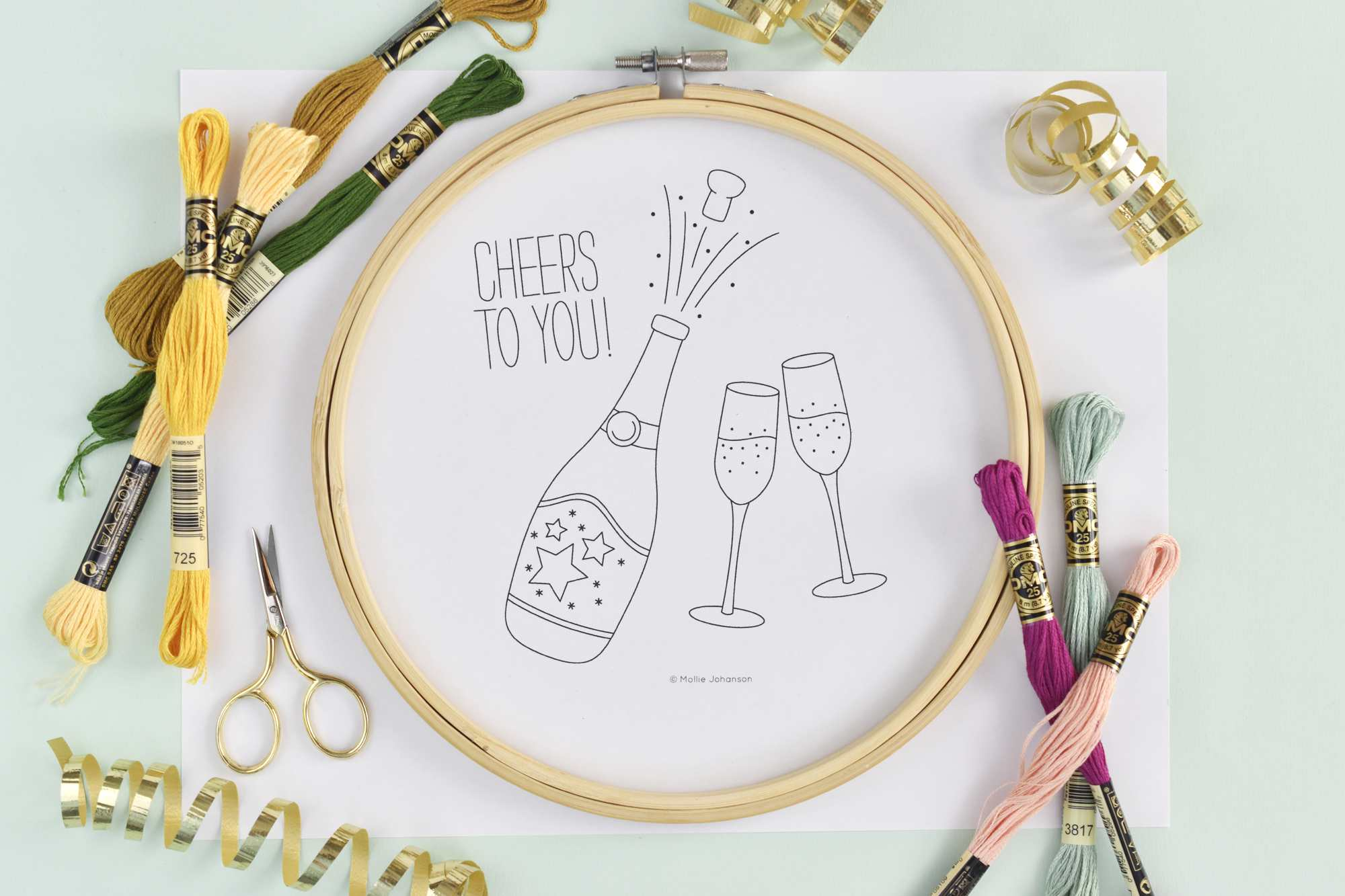 Celebration Champagne Toast Free Embroidery Design Vintage Sewing Machine Threading Guides Stitch Nerd