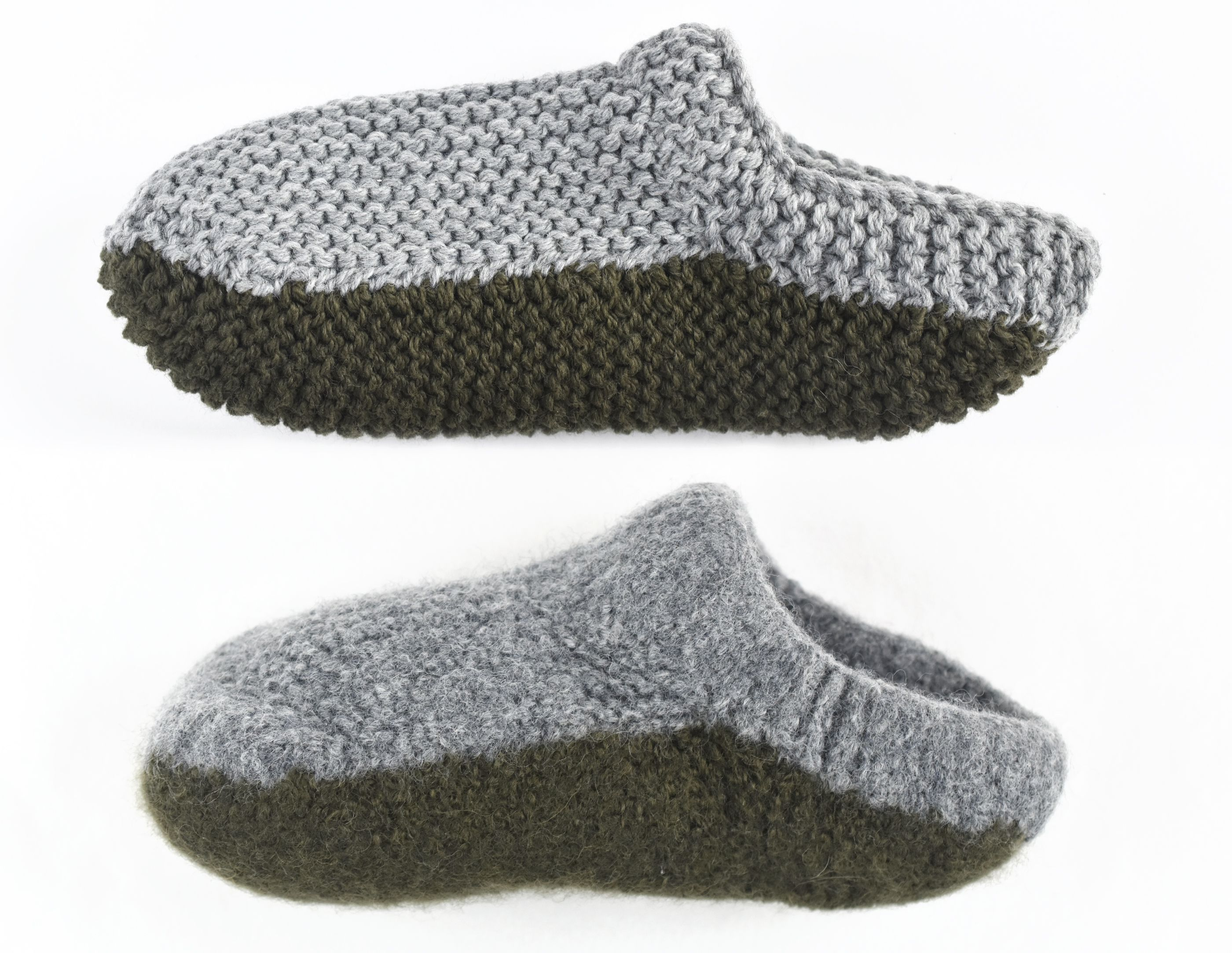 Felted Knit Slipper Before and After