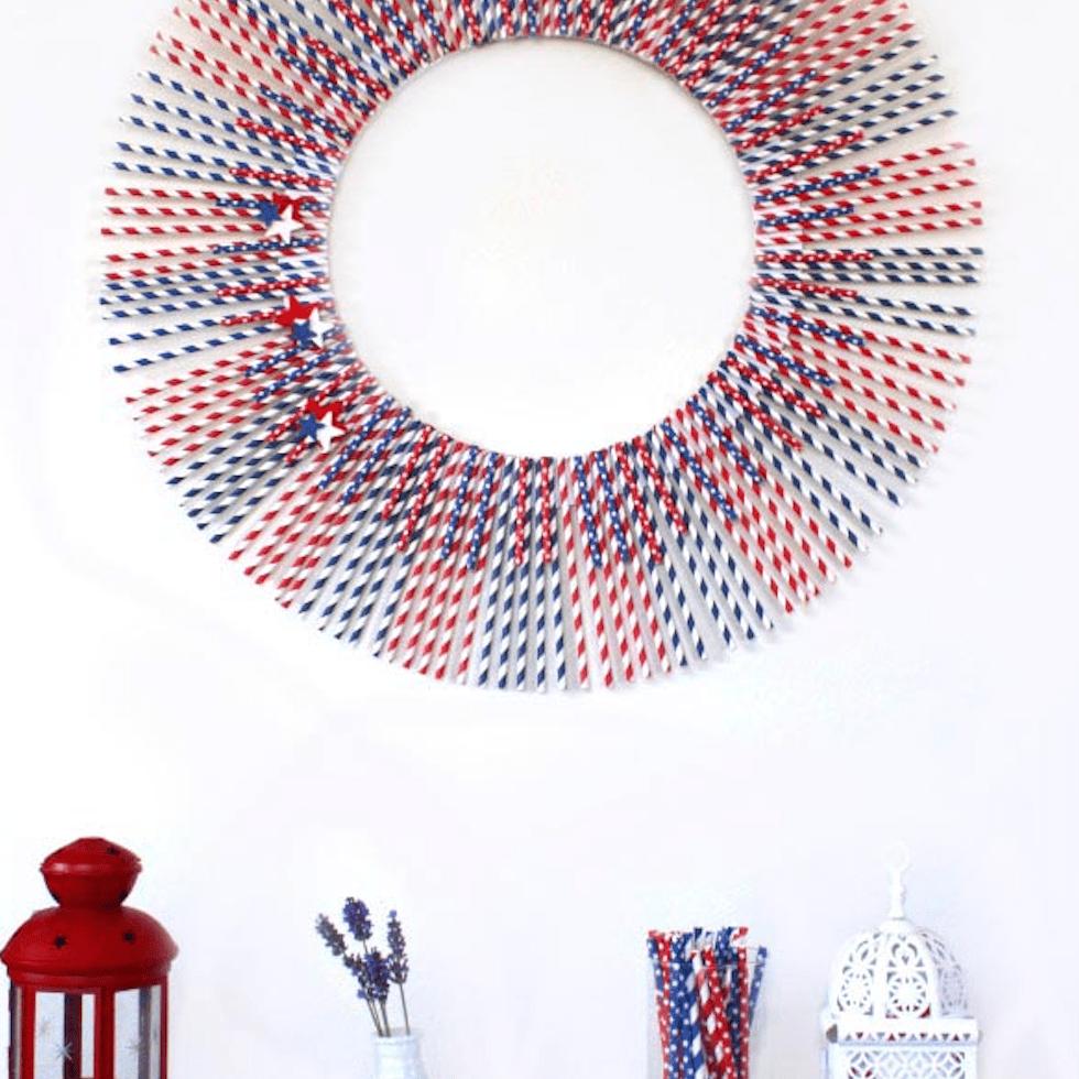 wreath made of patriotic straws