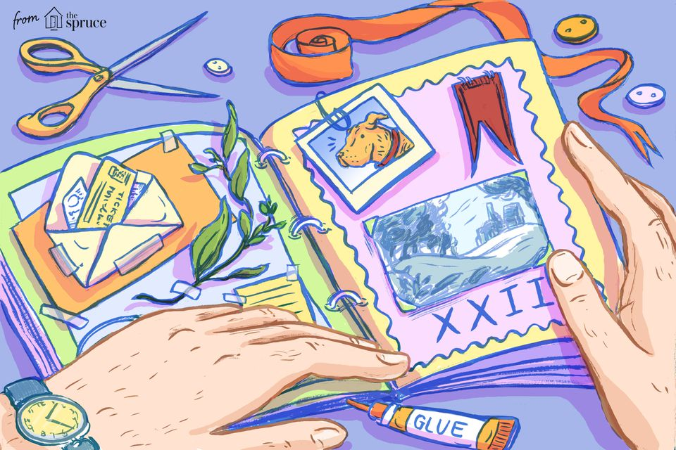 Illustration of a man's hands scrapbooking