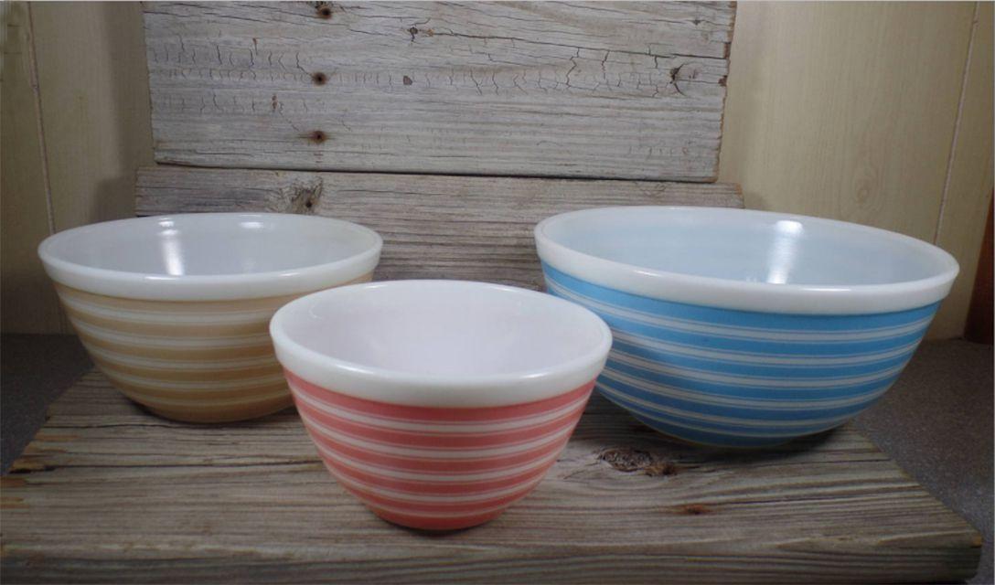 Pyrex Rainbow Stripes Bowls