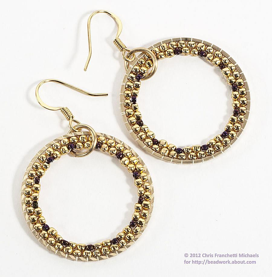 Dangly brick stitch hoop earrings for Michaels crafts jewelry supplies