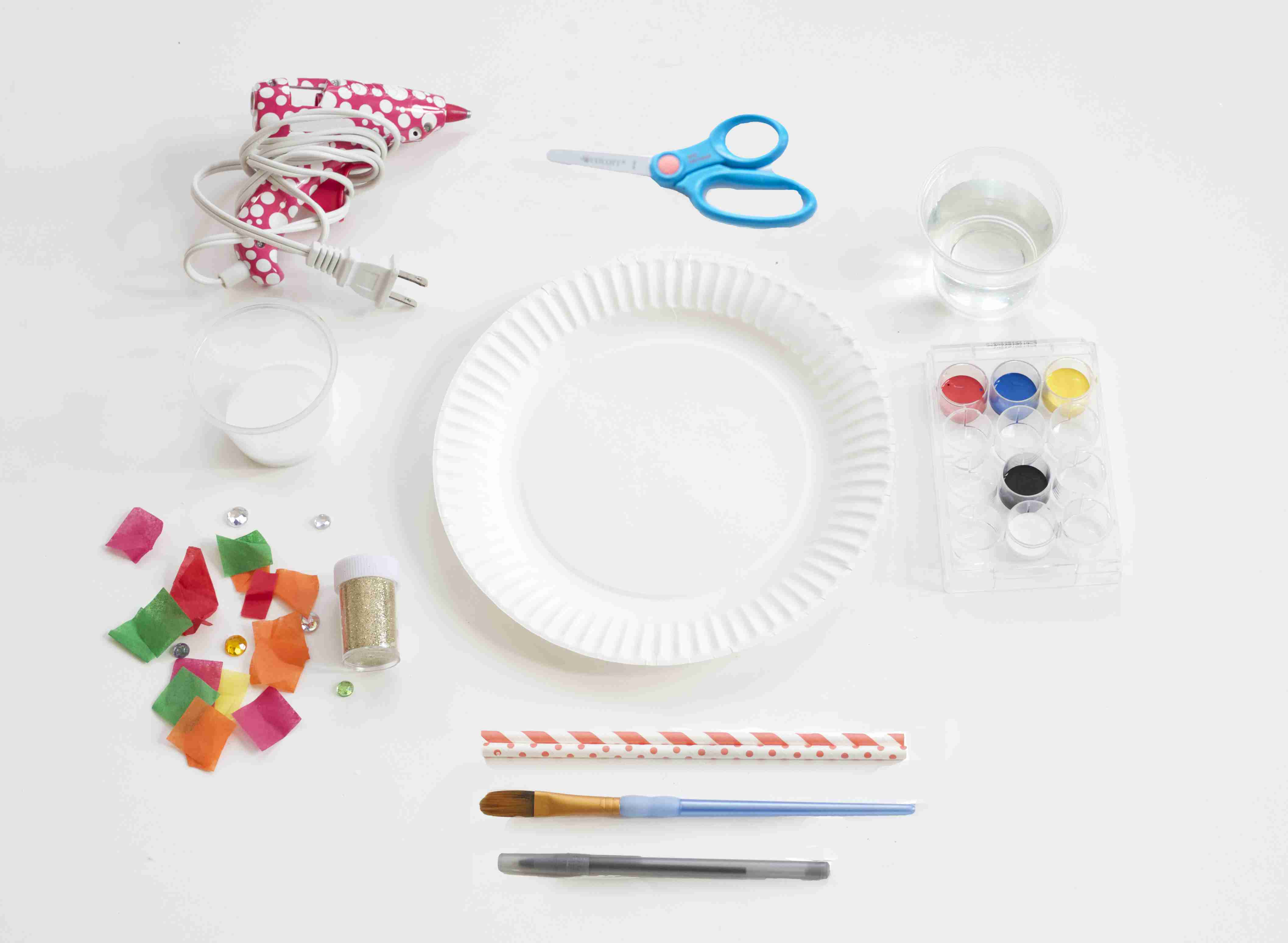 Making paper plate masks: gathering the goods