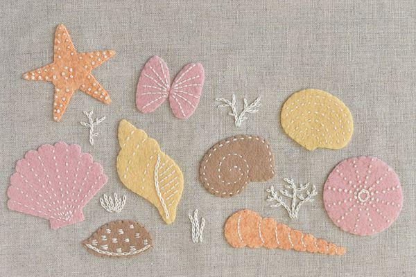 Pastel Embroidered Felt Seashell Designs
