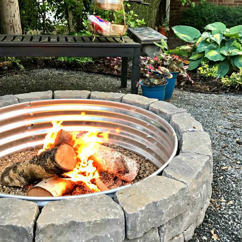 A fire in a backyard fire pit