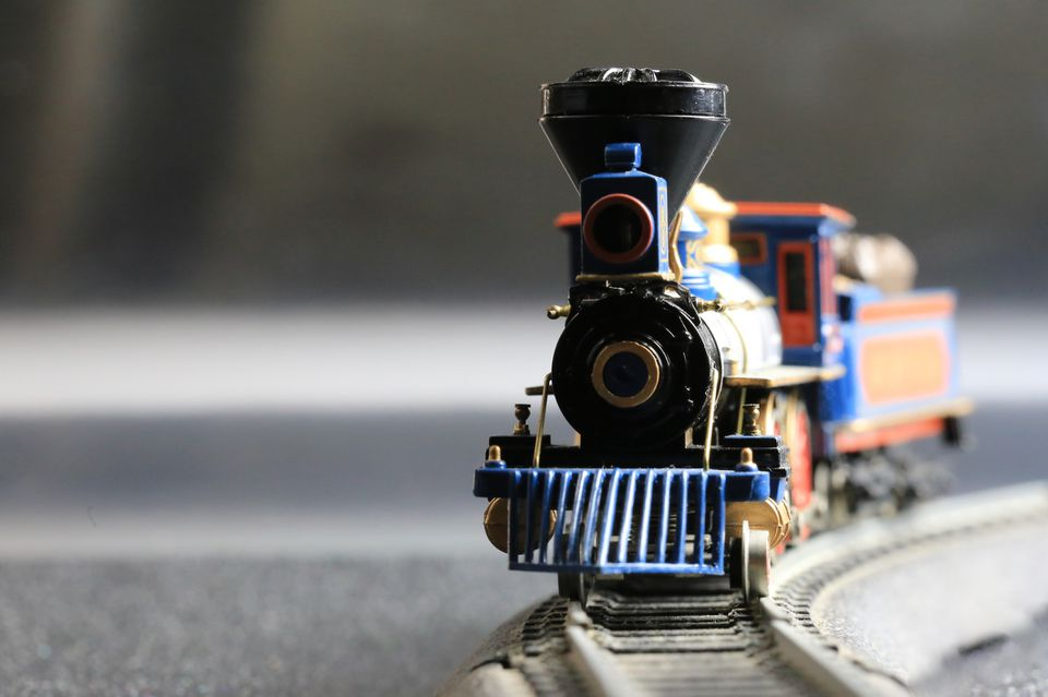 Model train on tracks — steam locomotive