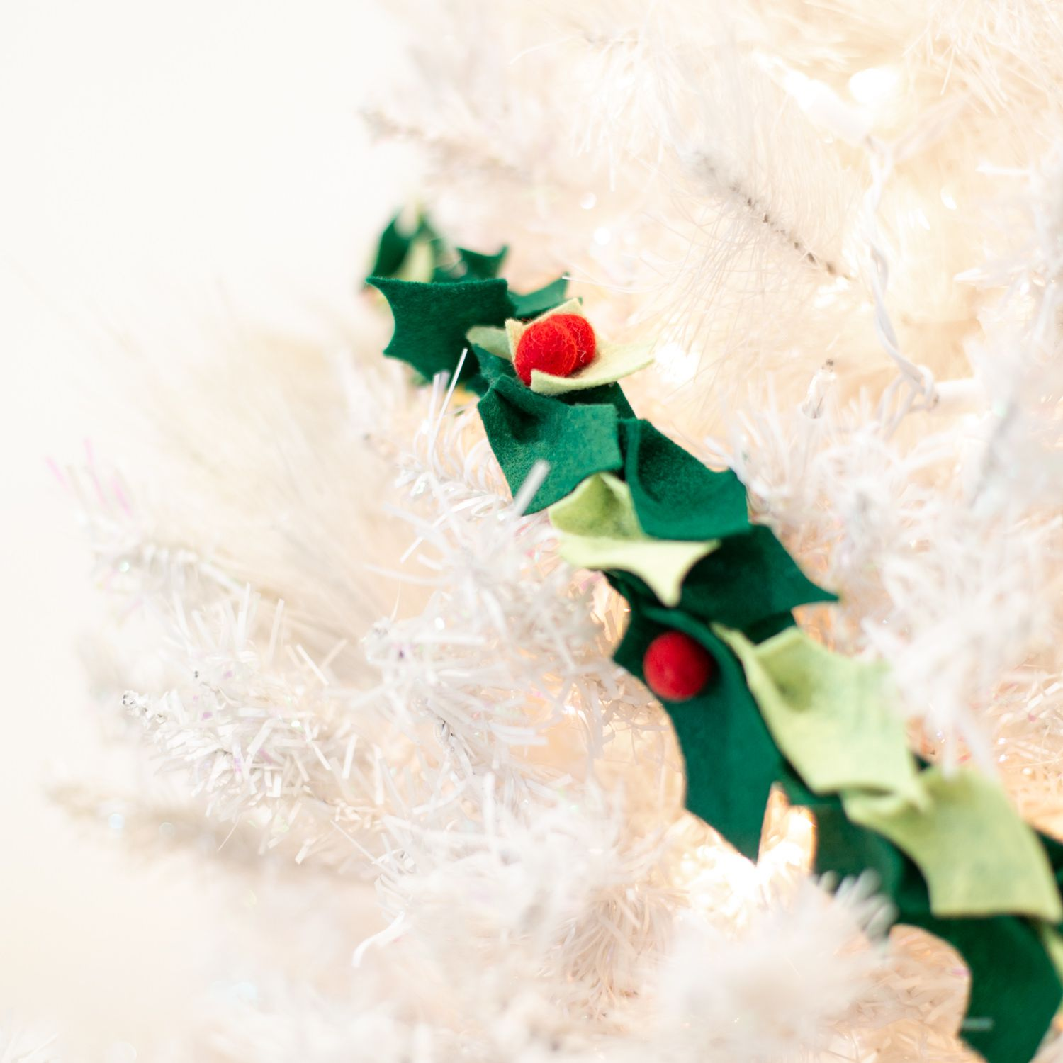 Decorating with felt holly garland