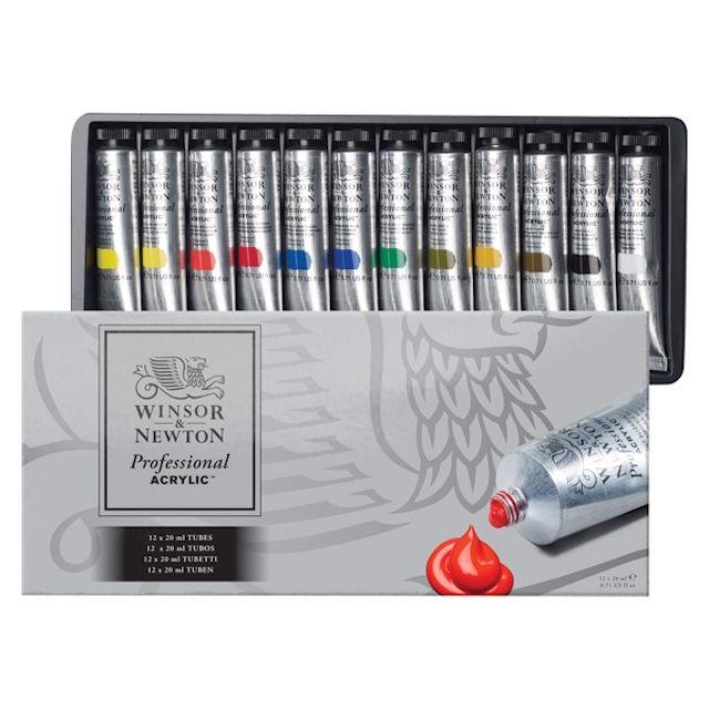 Winsor & Newton Professional Acrylics - Starter Set of 12 Colors, 20 ml tubes