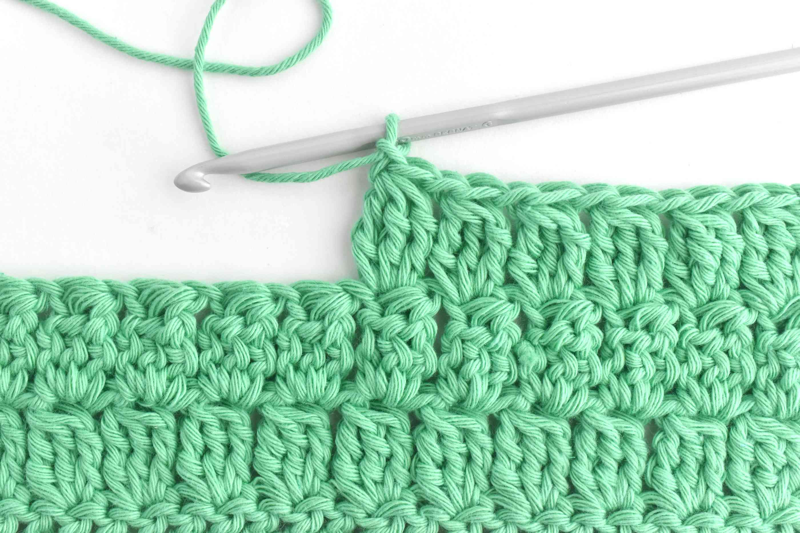 Rows of Treble Crochet Clusters Worked Back and Forth