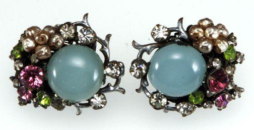Ca. 1950s Miriam Haskell Pastel Earrings