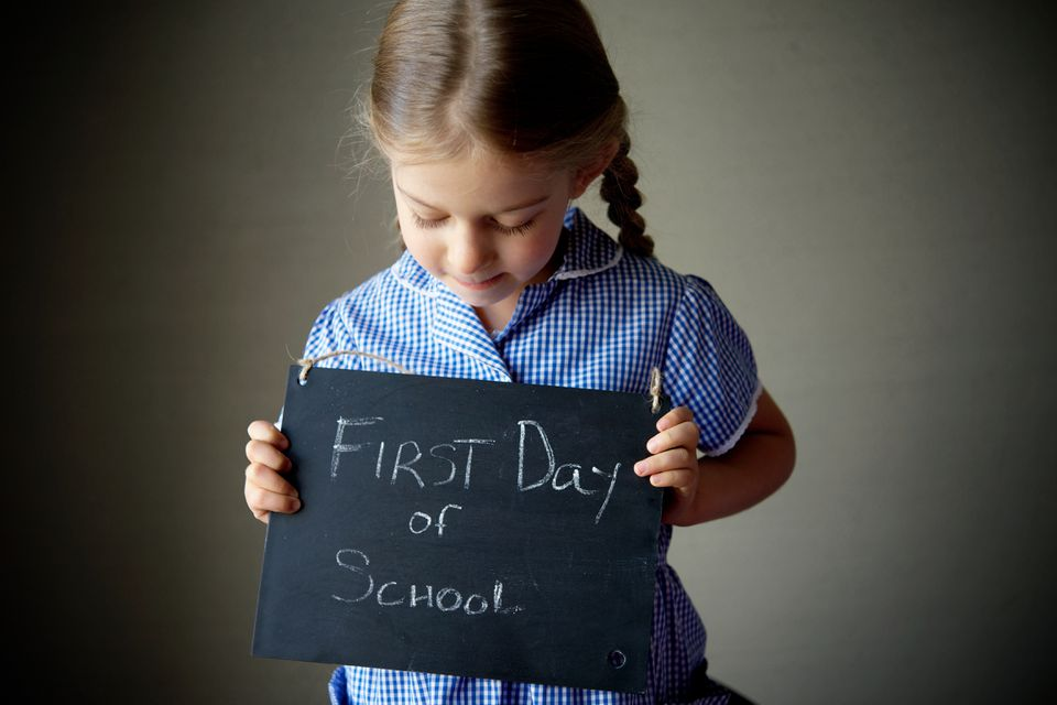 Girl on first day of school