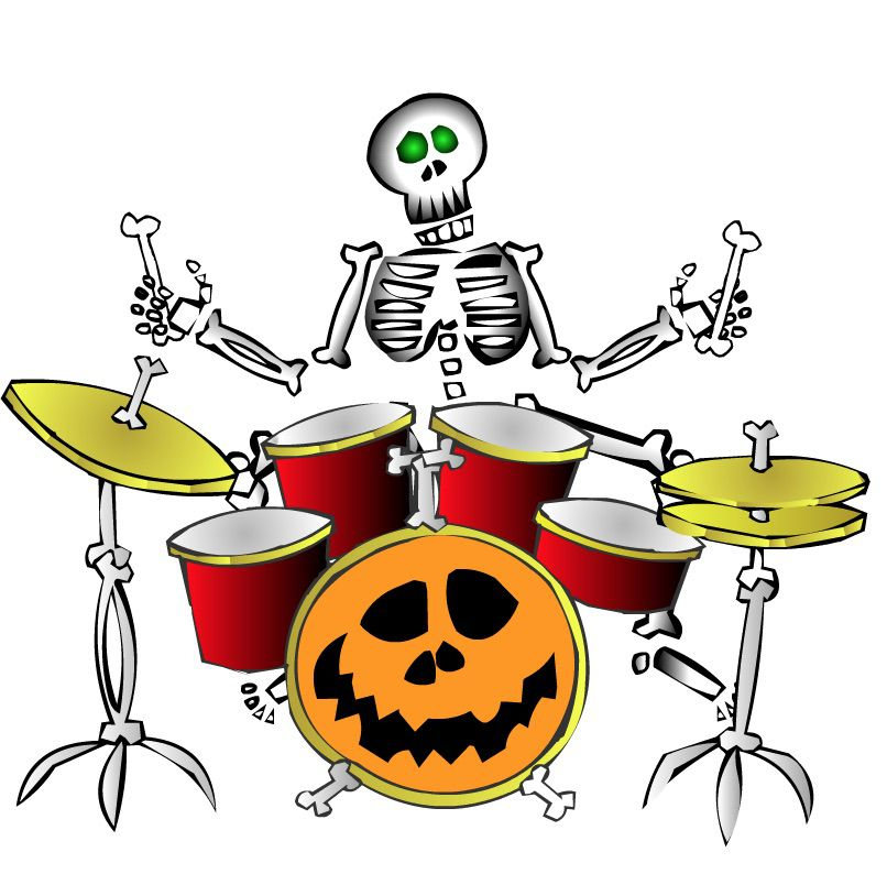 A skeleton playing the drums