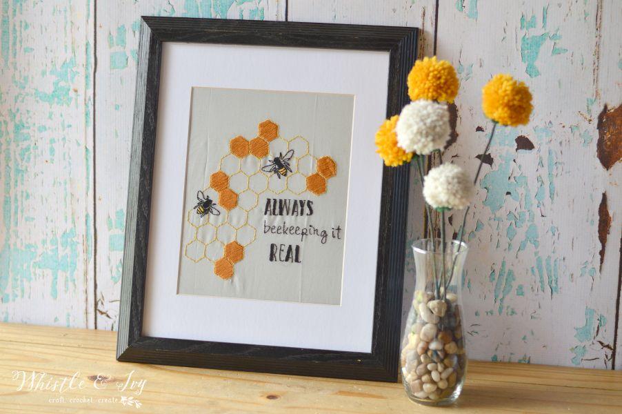 Always Beekeeping It Real Embroidery Pattern