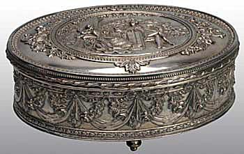 Continental Silver Plate Dressing Table Box